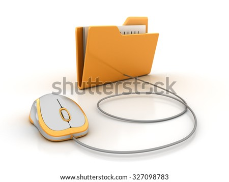 Folder with Computer Mouse - High Quality 3D Render - stock photo