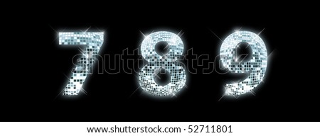 7,8,9 - font made from a disco ball - stock photo