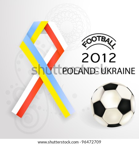 2012 Football Poland Ukraine flag symbol with soccerball. - stock photo