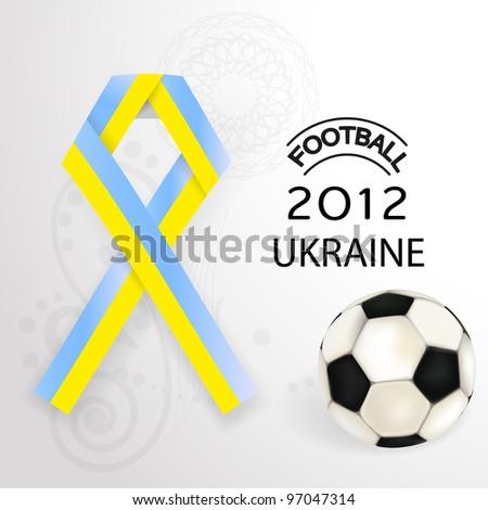 2012 Football  Ukraine flag symbol with soccerball. - stock photo