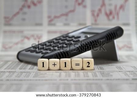 1+1=2 formula - stock photo