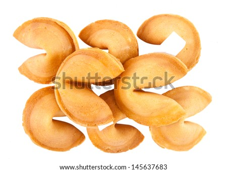 fortune cookies isolated over white background - stock photo
