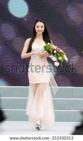 FOSHAN - Jan 31:Foshan city flower festival, 6, the beauty of flowers in hand to show to the citizen, organizers hope more citizens to participate in this activity Jan 31, 2015 in Foshan, China - stock photo