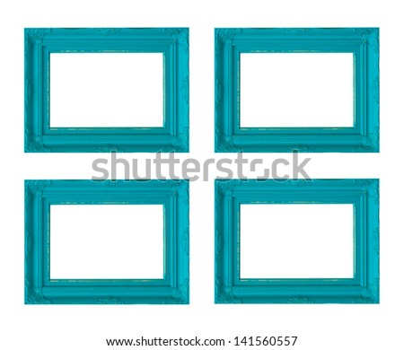 Four blue picture frames - stock photo