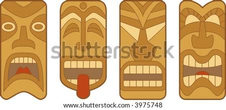 * Four funny Hawaiian Tiki masks on white background - stock photo