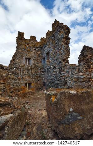 Fragment of Castle of Acquadda. Sardinia. Italy - stock photo