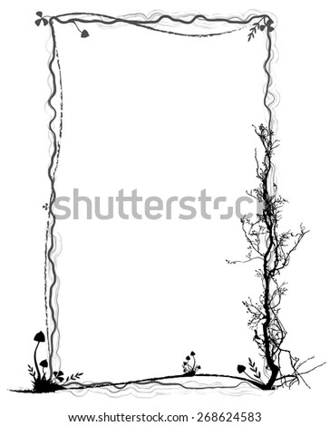 frame with mushrooms in black and grey colors - stock photo