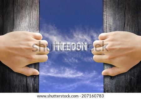 """FREEDOM"" text in the sky behind 2 hands opening the wooden door. - stock photo"