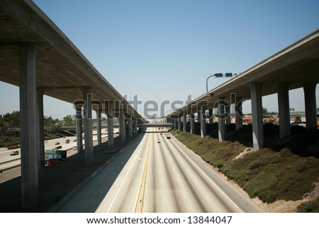 110 freeway north bound in Los Angeles California with On Ramps and off ramps traffic - stock photo