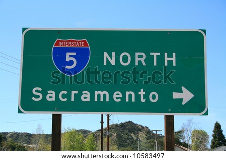 5 Freeway North Sign - stock photo