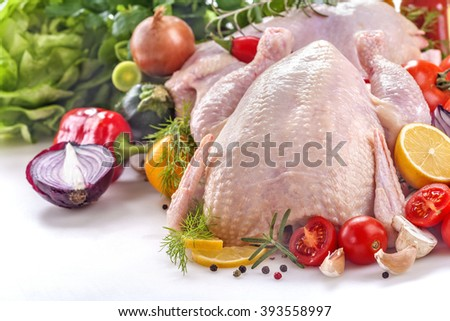 fresh chicken with vegetables and spices on a white background - stock photo