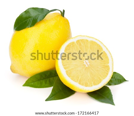 Fresh lemons with leaves isolated on the white background, clipping path included. - stock photo