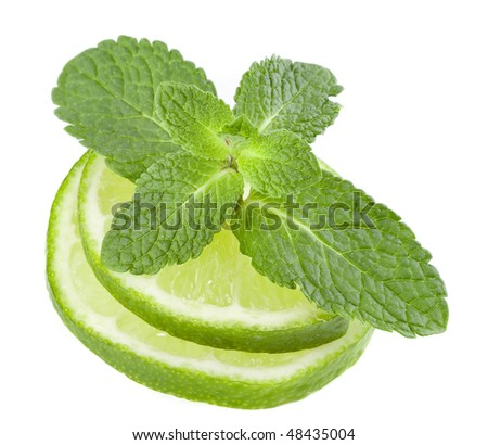 fresh lime with leaf mint isolated on white - stock photo