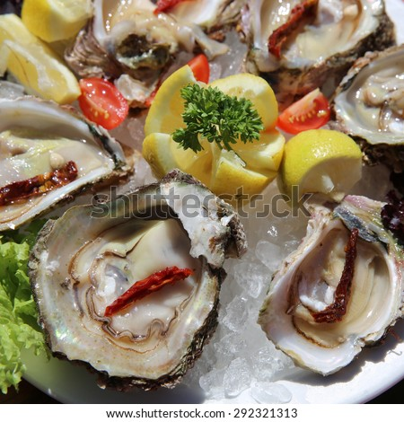 Fresh Oyster with Lemon on a Plate. South Africa - stock photo