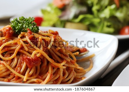 Fresh spaghetti with tomato sauce close up ,Low angle view of a serving of Italian spaghetti with a meat based bolognese, or bolognaise, sauce on a plain white plate - stock photo