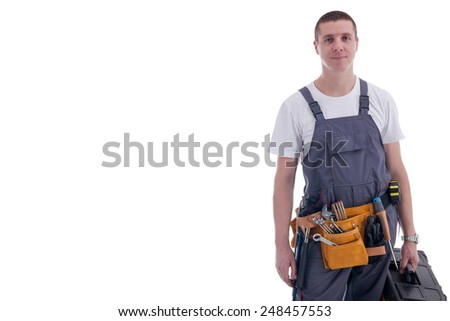 friendly manual workeron white background - stock photo