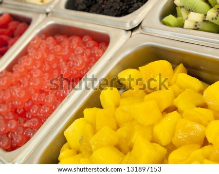 �¢??Frozen yogurt toppings bar. Yogurt toppings ranging from ...