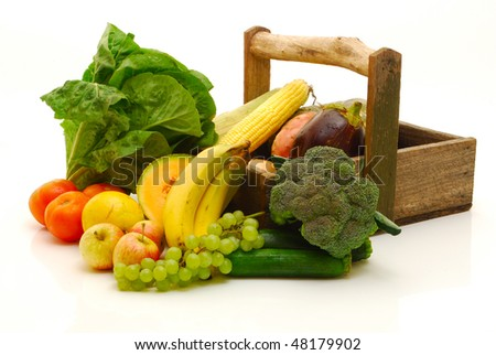 fruit and vegetables on white - stock photo