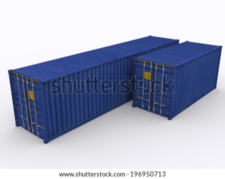 20ft and 40 ft container - stock photo