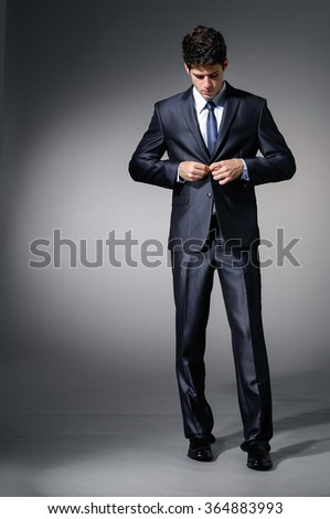 Full body Young business man isolated over light background - stock photo