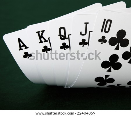 full house playing cards - stock photo