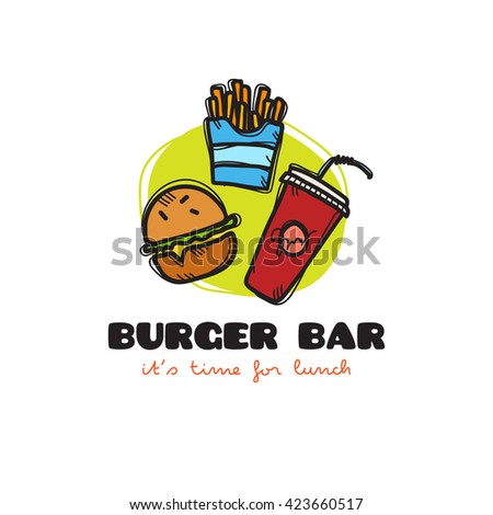 funny cartoon style snack bar logo with burger, fries and soda. Sketchy doodle cafe logo - stock photo