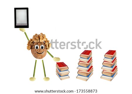Funny little man of the walnut compares e-book and simple books - stock photo