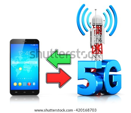 5G digital cellular telecommunication technology and wireless connection business concept: 3D render of smartphone and mobile base station or TV transmitter antenna pylon with 5G sign, symbol or logo - stock photo