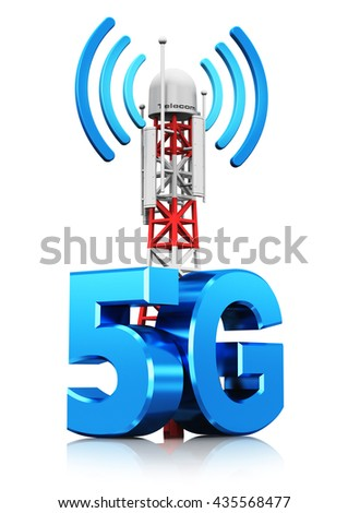 5G digital cellular telecommunication technology and wireless connection business concept: 3D illustration of mobile base station or TV transmitter antenna pylon with sign or symbol isolated on white - stock photo