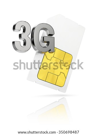 3G icon with mini Sim card isolated on white background - stock photo