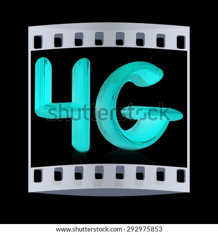 4g internet network. 3d text. The film strip - stock photo