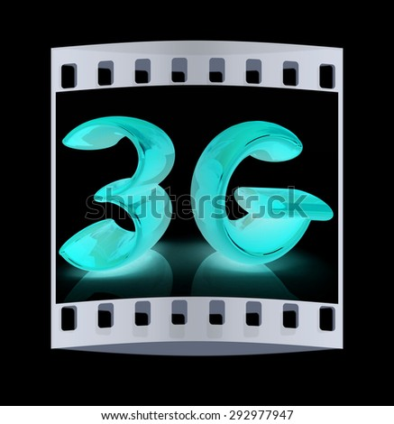 3g internet network. 3d text. The film strip - stock photo