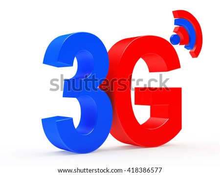 3g mobile wireless communication colorful symbol isolated on white background. 3d illustration - stock photo