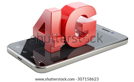 4G sign on smart phone screen. High speed mobile web technology. 3d illustration isolated on a white background. - stock photo