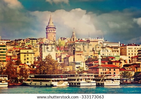 Galata tower. Golden horn. Istanbul - stock photo