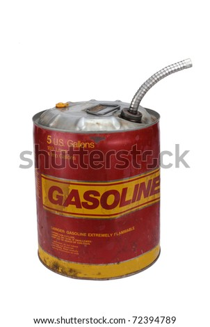 5 gallon gas can with pour spout - stock photo