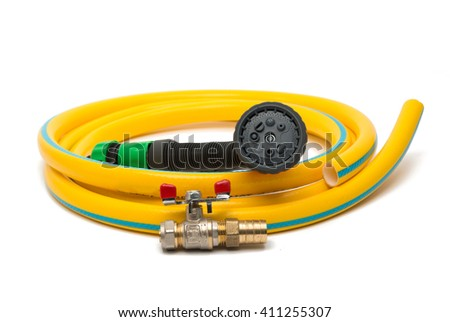 garden hose with a sprayer on a white background - stock photo