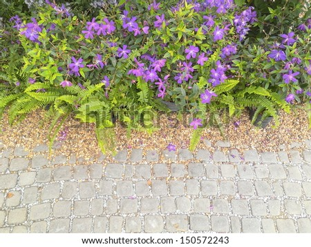 garden with paved path and blooming flowers - stock photo