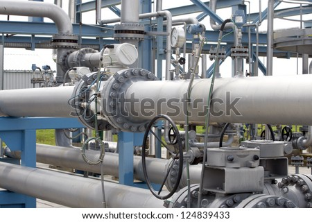 Gas equipment, gas valves on a natural gas pipeline. - stock photo