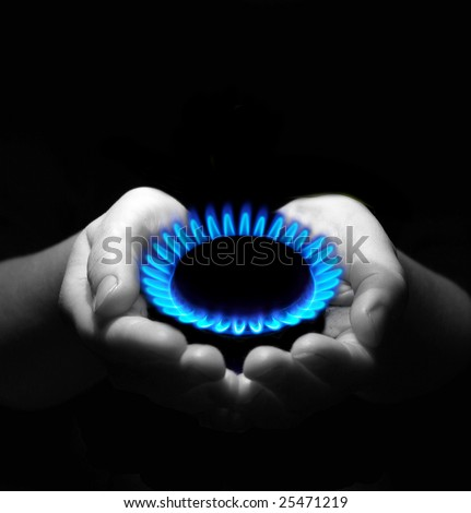 gas in hands . Industrial concept - stock photo