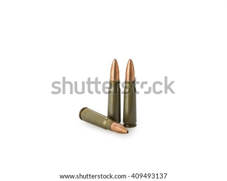 7,62 Ã? 39 gauge riffle shells used for hunting isolated on white - stock photo