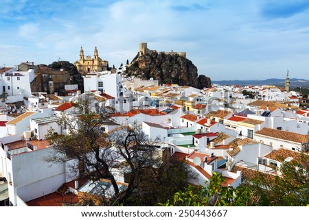 General view of  spanish town.  Olvera,   province of Cadiz - stock photo
