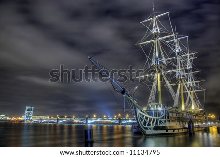 """Ghost ship"" in Saint-Petersburg - stock photo"
