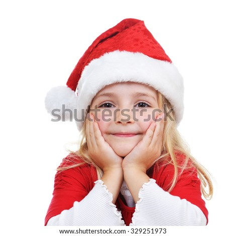 girl  in Santa cap - stock photo