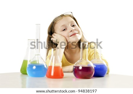 girl in science class - stock photo