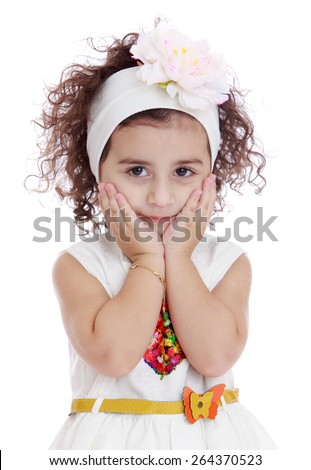 Girl with a bandage on his head holding his cheek - isolated on white background - stock photo