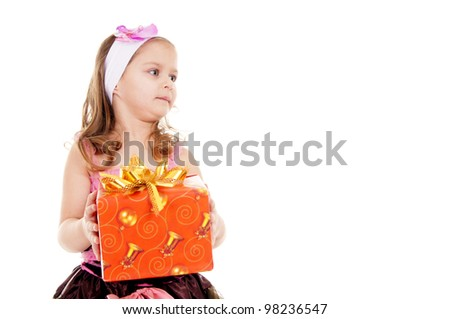 ? girl with a gift on a white background - stock photo