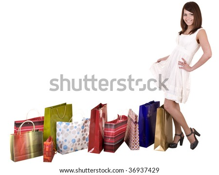 Girl with group of shopping bag . Isolated. - stock photo