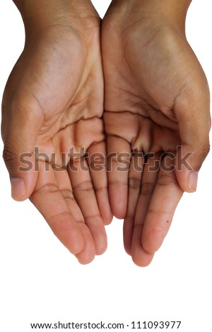 Giving hands isolated on white background - stock photo