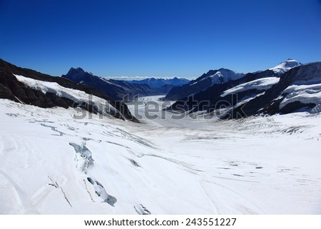 Glacial Landscape of Swiss Alps - stock photo